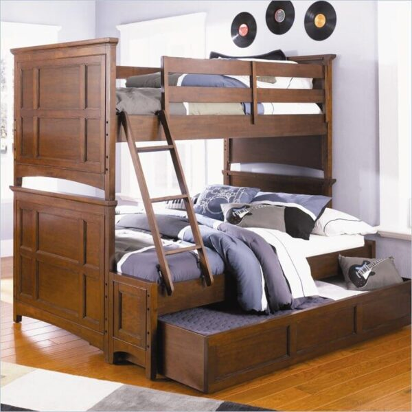 Merlot Twin Full Staircase Bunk